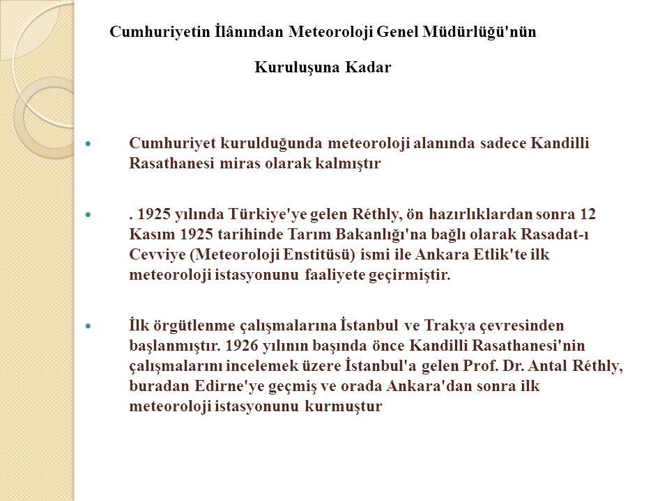 Cumhuriyetin İlânından Meteoroloji Genel Müdürlüğü'nün Kuruluşuna Kadar  Cumhuriyet kurulduğunda meteoroloji alanında sadece Kandilli Rasathanesi mir