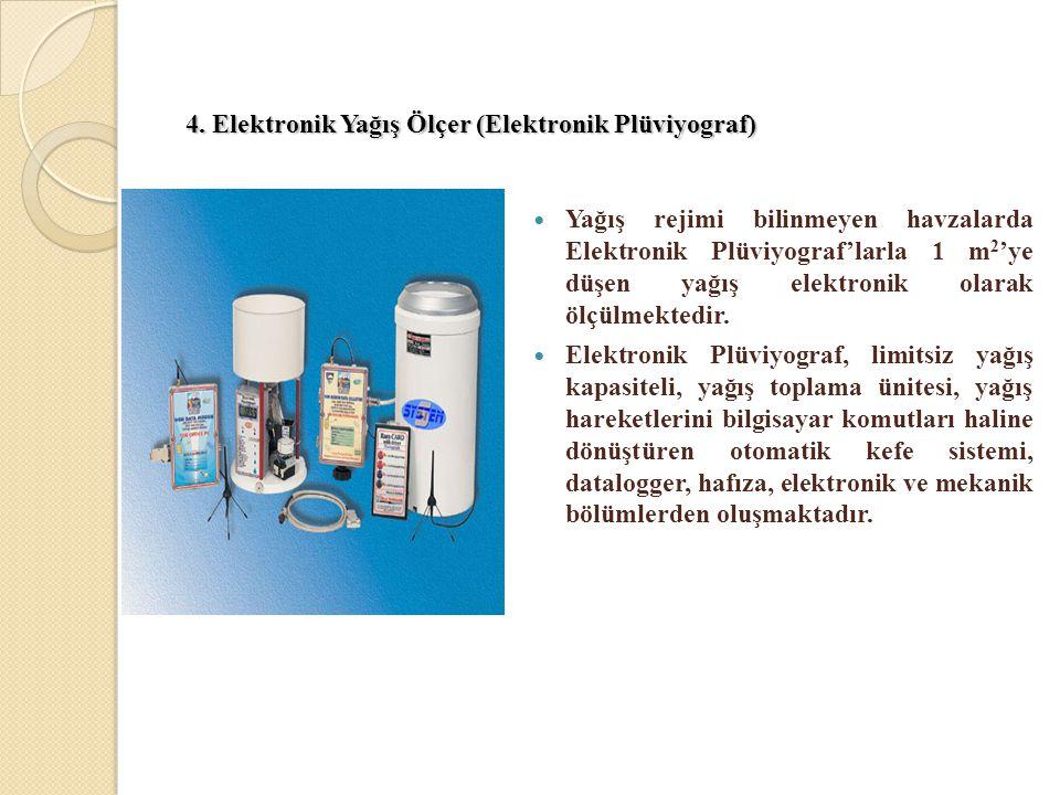 4. Elektronik Yağış Ölçer (Elektronik Plüviyograf) 4. Elektronik Yağış Ölçer (Elektronik Plüviyograf)  Yağış rejimi bilinmeyen havzalarda Elektronik