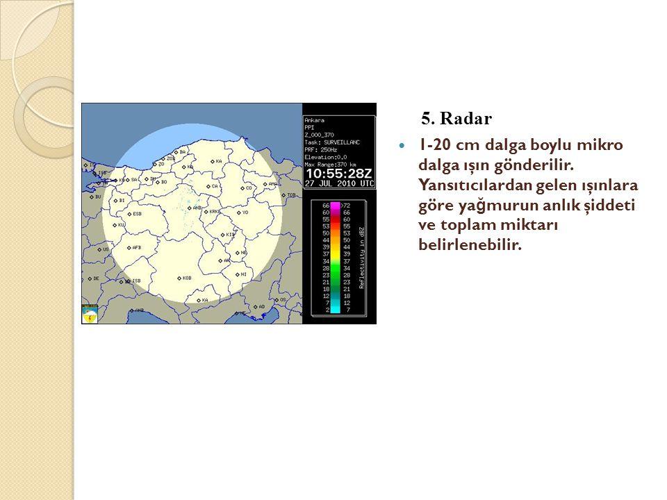5. Radar  1-20 cm dalga boylu mikro dalga ışın gönderilir. Yansıtıcılardan gelen ışınlara göre ya ğ murun anlık şiddeti ve toplam miktarı belirlenebi
