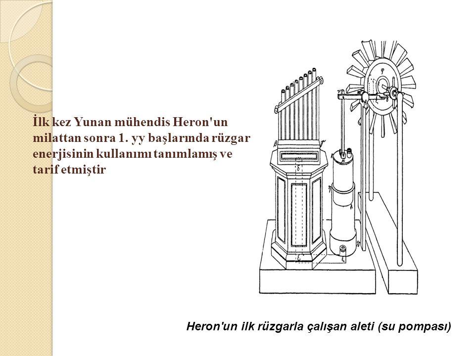 Heron'un ilk rüzgarla çalışan aleti (su pompası) İlk kez Yunan mühendis Heron'un milattan sonra 1. yy başlarında rüzgar enerjisinin kullanımı tanımlam