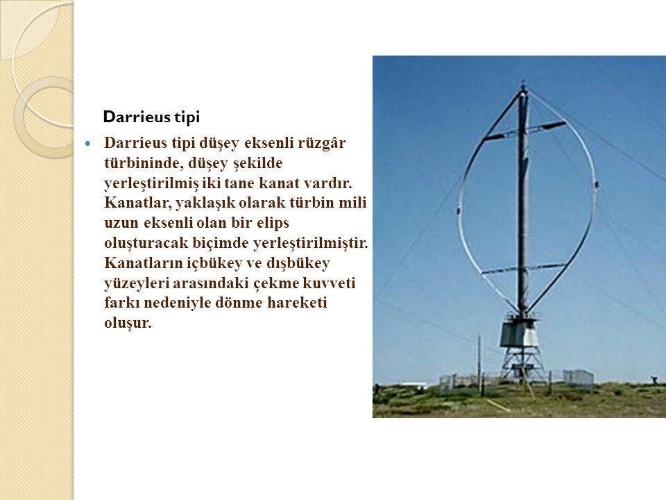 Darrieus tipi  Darrieus tipi düşey eksenli rüzgâr türbininde, düşey şekilde yerleştirilmiş iki tane kanat vardır. Kanatlar, yaklaşık olarak türbin mi