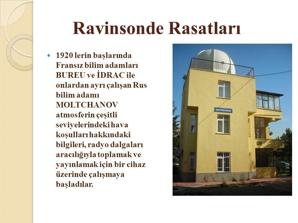 Ravinsonde Rasatları  1920 lerin başlarında Fransız bilim adamları BUREU ve İDRAC ile onlardan ayrı çalışan Rus bilim adamı MOLTCHANOV atmosferin çeş