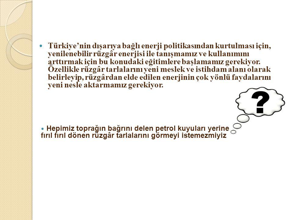  Türkiye'nin dışarıya bağlı enerji politikasından kurtulması için, yenilenebilir rüzgâr enerjisi ile tanışmamız ve kullanımını arttırmak için bu konu