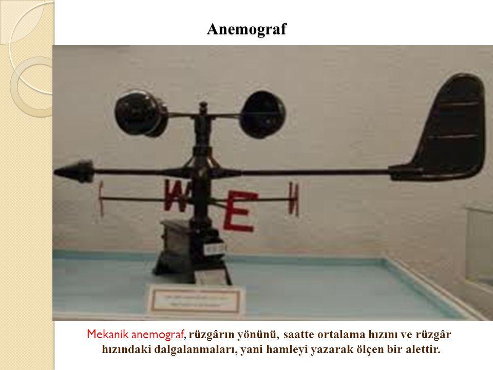Anemograf Anemograf Mekanik anemograf, rüzgârın yönünü, saatte ortalama hızını ve rüzgâr hızındaki dalgalanmaları, yani hamleyi yazarak ölçen bir alet