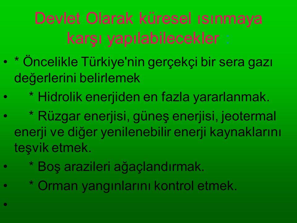 Devlet Olarak küresel ısınmaya karşı yapılabilecekler : •* Öncelikle Türkiye'nin gerçekçi bir sera gazı değerlerini belirlemek • * Hidrolik enerjiden