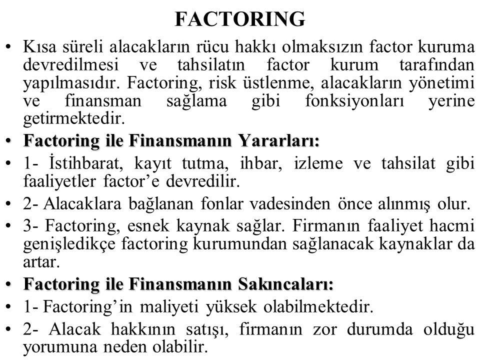 FACTORING •Kısa süreli alacakların rücu hakkı olmaksızın factor kuruma devredilmesi ve tahsilatın factor kurum tarafından yapılmasıdır. Factoring, ris