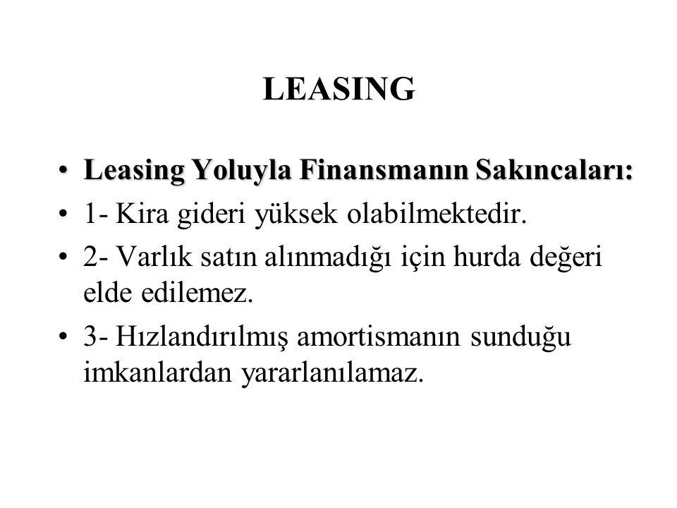 LEASING •Leasing Yoluyla Finansmanın Sakıncaları: •1- Kira gideri yüksek olabilmektedir. •2- Varlık satın alınmadığı için hurda değeri elde edilemez.