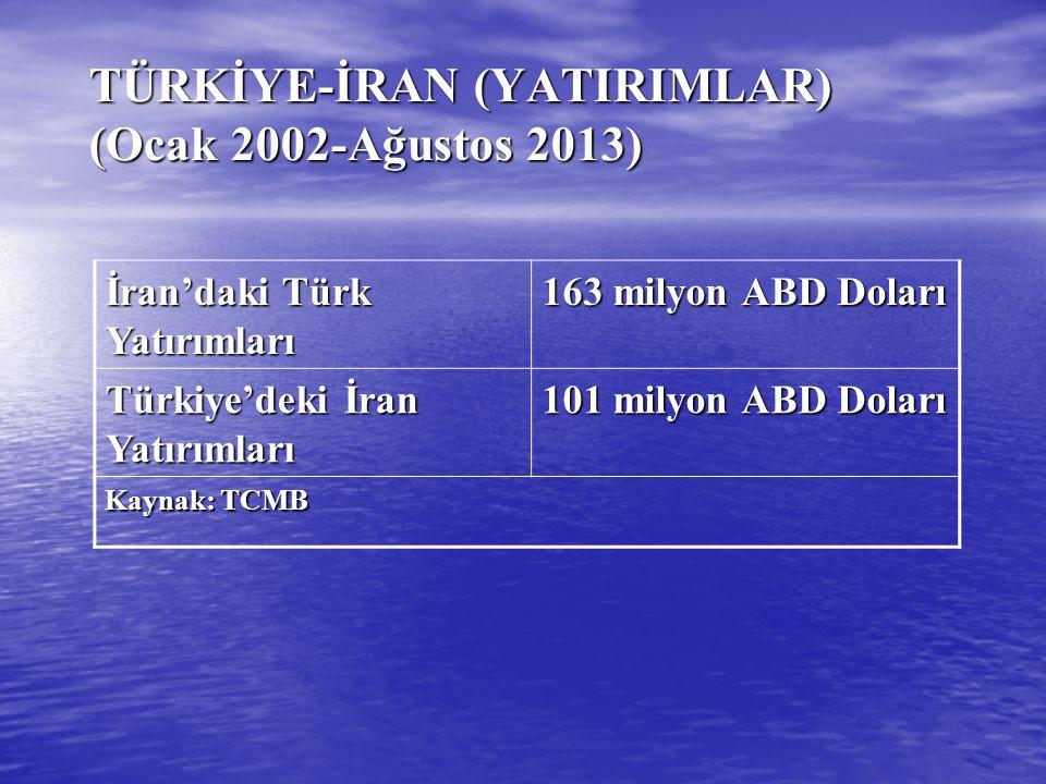 TÜRKİYE-İRAN (YATIRIMLAR) (Ocak 2002-Ağustos 2013) İran'daki Türk Yatırımları 163 milyon ABD Doları Türkiye'deki İran Yatırımları 101 milyon ABD Dolar