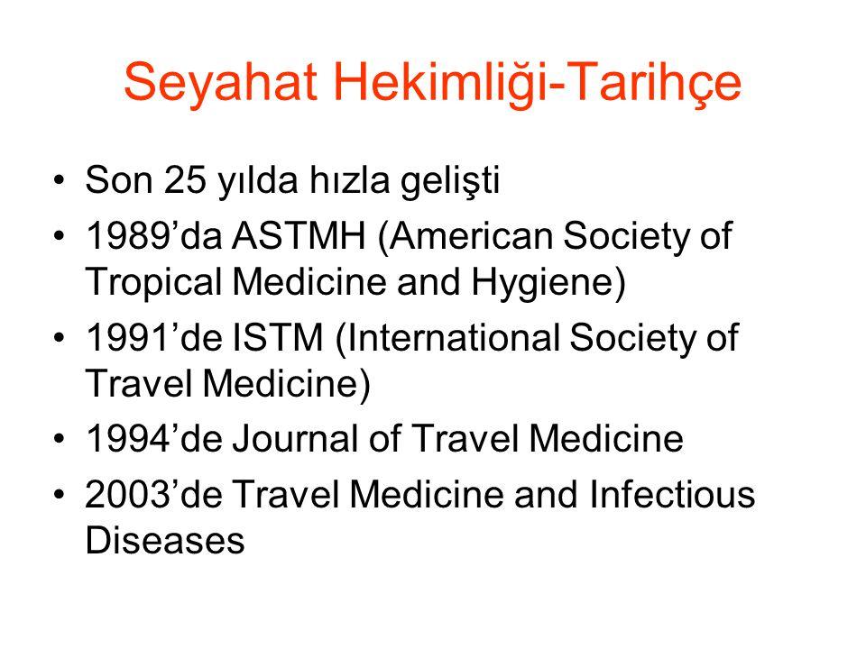 Seyahat Hekimliği-Tarihçe •Son 25 yılda hızla gelişti •1989'da ASTMH (American Society of Tropical Medicine and Hygiene) •1991'de ISTM (International