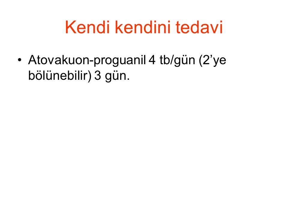 Kendi kendini tedavi •Atovakuon-proguanil 4 tb/gün (2'ye bölünebilir) 3 gün.