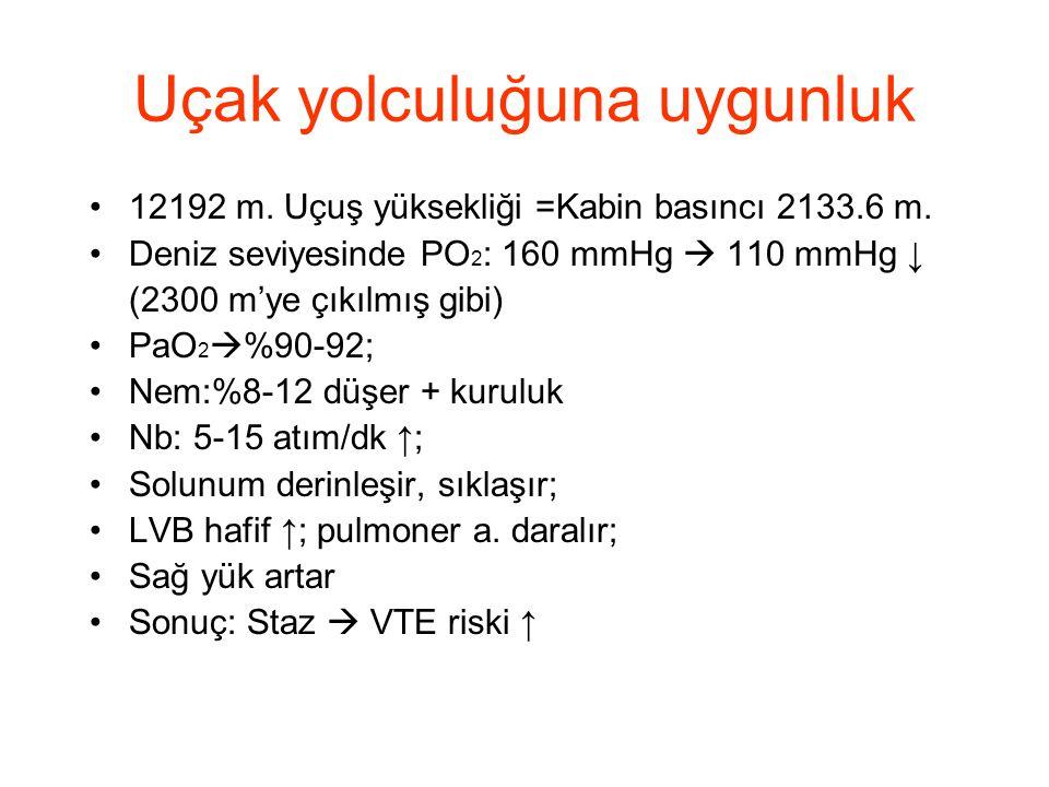 Uçak yolculuğuna uygunluk •12192 m. Uçuş yüksekliği =Kabin basıncı 2133.6 m. •Deniz seviyesinde PO 2 : 160 mmHg  110 mmHg ↓ (2300 m'ye çıkılmış gibi)