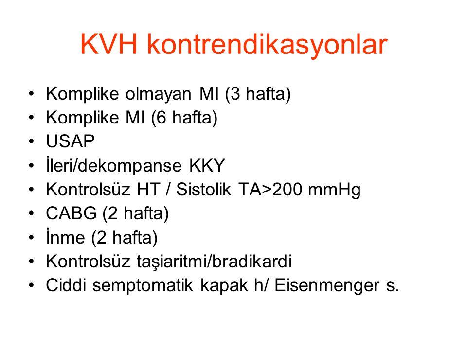 KVH kontrendikasyonlar •Komplike olmayan MI (3 hafta) •Komplike MI (6 hafta) •USAP •İleri/dekompanse KKY •Kontrolsüz HT / Sistolik TA>200 mmHg •CABG (