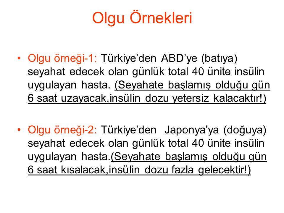 Olgu Örnekleri •Olgu örneği-1: Türkiye'den ABD'ye (batıya) seyahat edecek olan günlük total 40 ünite insülin uygulayan hasta. (Seyahate başlamış olduğ