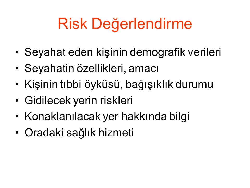 Risk Değerlendirme •Seyahat eden kişinin demografik verileri •Seyahatin özellikleri, amacı •Kişinin tıbbi öyküsü, bağışıklık durumu •Gidilecek yerin r
