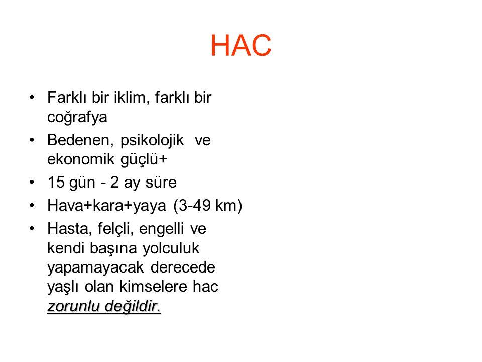HAC •Farklı bir iklim, farklı bir coğrafya •Bedenen, psikolojik ve ekonomik güçlü+ •15 gün - 2 ay süre •Hava+kara+yaya (3-49 km) zorunlu değildir. •Ha