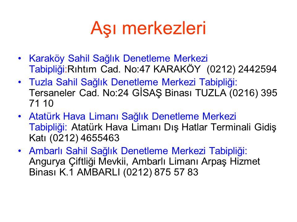 Aşı merkezleri •Karaköy Sahil Sağlık Denetleme Merkezi Tabipliği:Rıhtım Cad. No:47 KARAKÖY (0212) 2442594 •Tuzla Sahil Sağlık Denetleme Merkezi Tabipl
