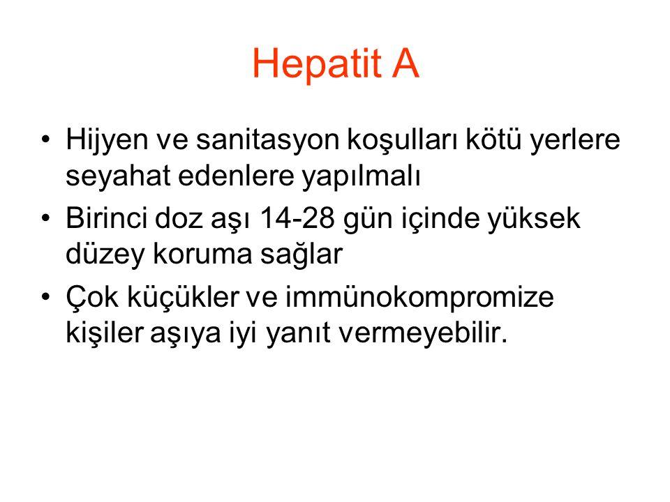 Hepatit A •Hijyen ve sanitasyon koşulları kötü yerlere seyahat edenlere yapılmalı •Birinci doz aşı 14-28 gün içinde yüksek düzey koruma sağlar •Çok kü