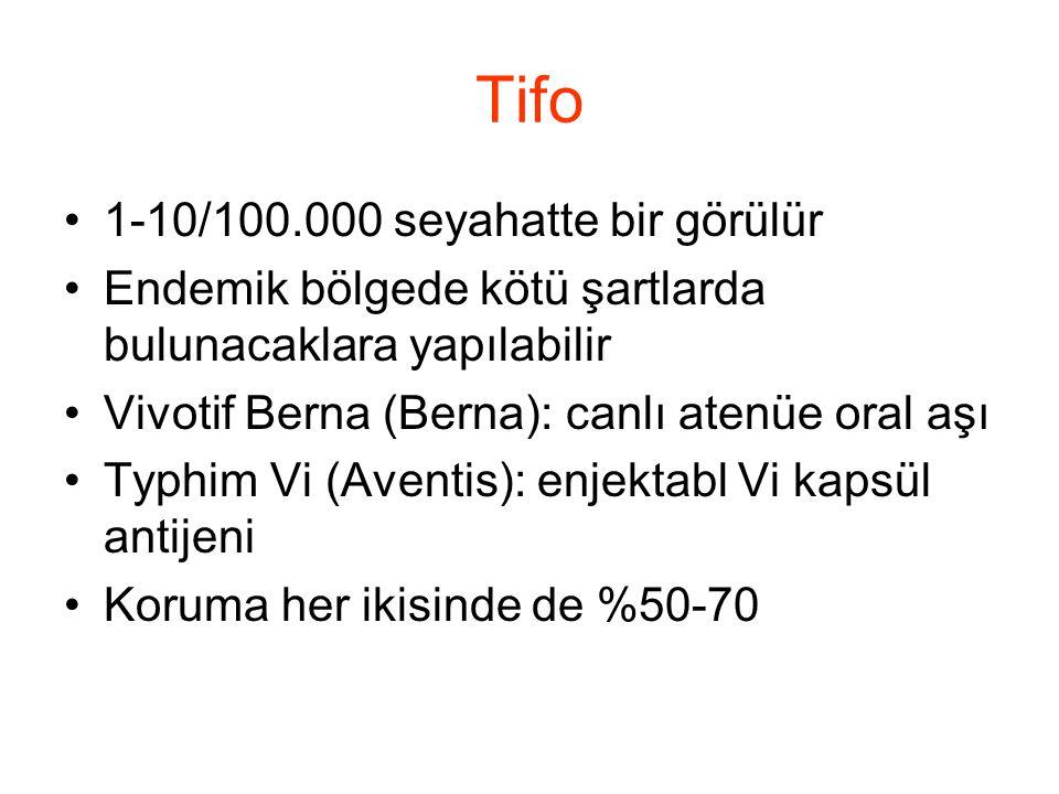 Tifo •1-10/100.000 seyahatte bir görülür •Endemik bölgede kötü şartlarda bulunacaklara yapılabilir •Vivotif Berna (Berna): canlı atenüe oral aşı •Typh