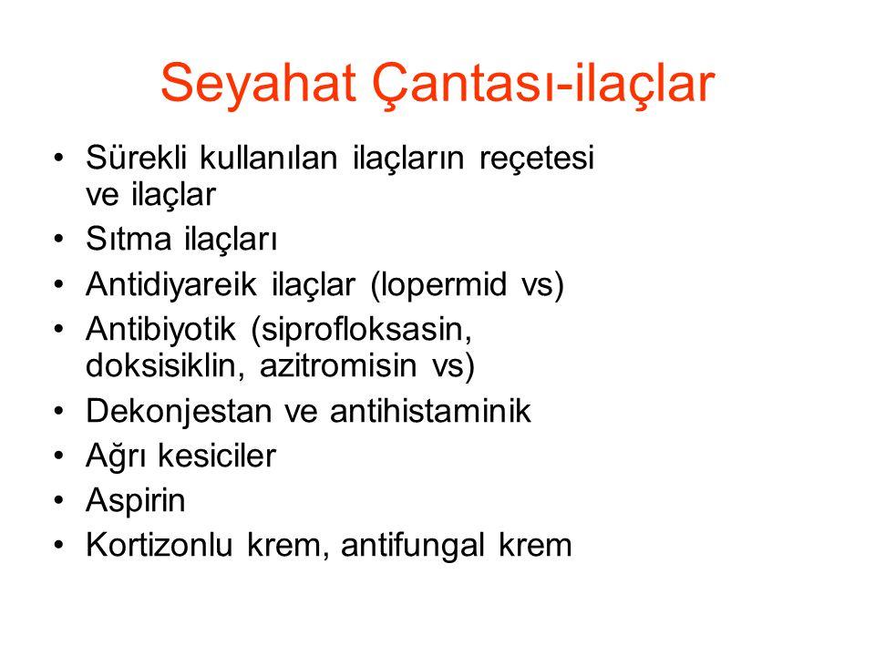 Seyahat Çantası-ilaçlar •Sürekli kullanılan ilaçların reçetesi ve ilaçlar •Sıtma ilaçları •Antidiyareik ilaçlar (lopermid vs) •Antibiyotik (siprofloks