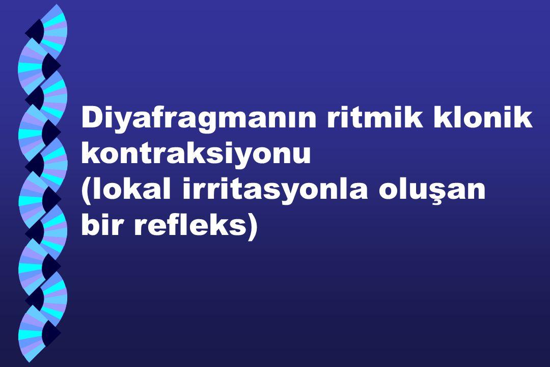 Diyafragmanın ritmik klonik kontraksiyonu (lokal irritasyonla oluşan bir refleks)