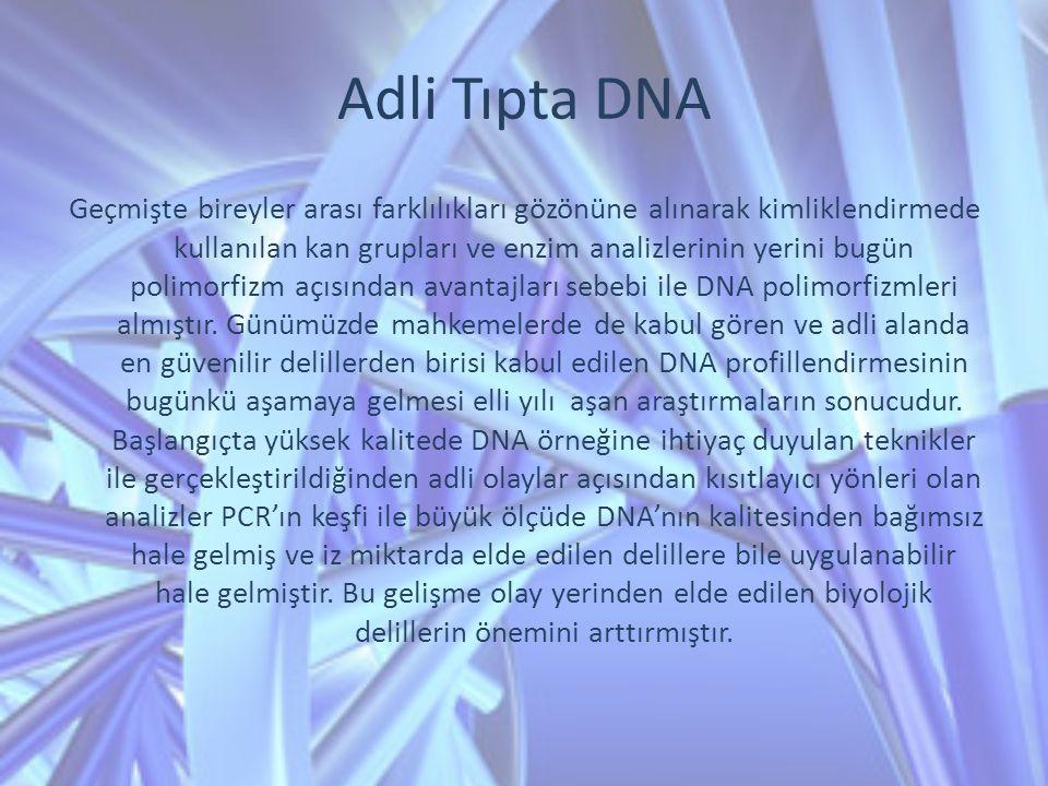 Adli Tıpta DNA Geçmişte bireyler arası farklılıkları gözönüne alınarak kimliklendirmede kullanılan kan grupları ve enzim analizlerinin yerini bugün po