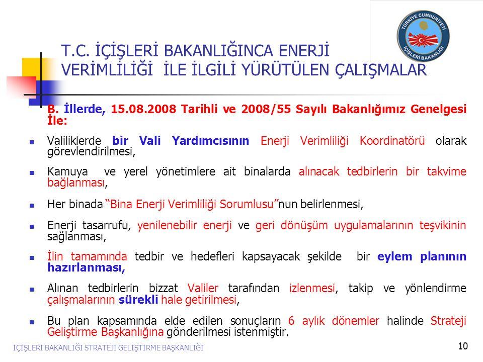 10 B. İllerde, 15.08.2008 Tarihli ve 2008/55 Sayılı Bakanlığımız Genelgesi İle:  Valiliklerde bir Vali Yardımcısının Enerji Verimliliği Koordinatörü