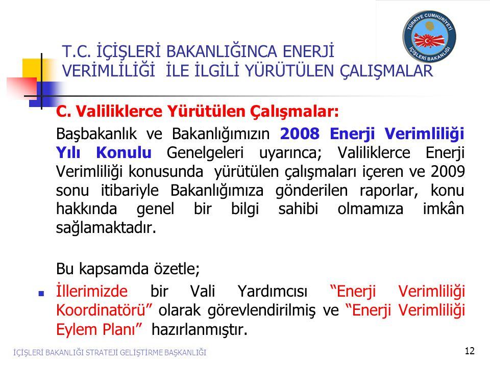 12 C. Valiliklerce Yürütülen Çalışmalar: Başbakanlık ve Bakanlığımızın 2008 Enerji Verimliliği Yılı Konulu Genelgeleri uyarınca; Valiliklerce Enerji V
