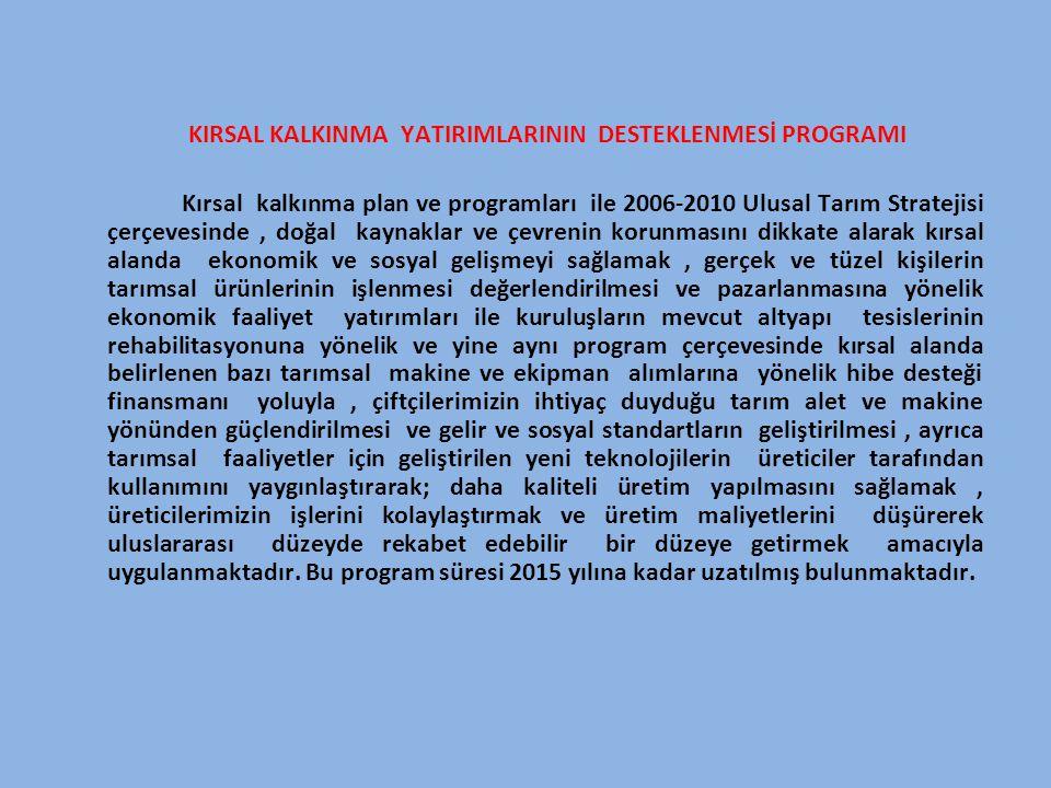 KIRSAL KALKINMA YATIRIMLARININ DESTEKLENMESİ PROGRAMI Kırsal kalkınma plan ve programları ile 2006-2010 Ulusal Tarım Stratejisi çerçevesinde, doğal ka