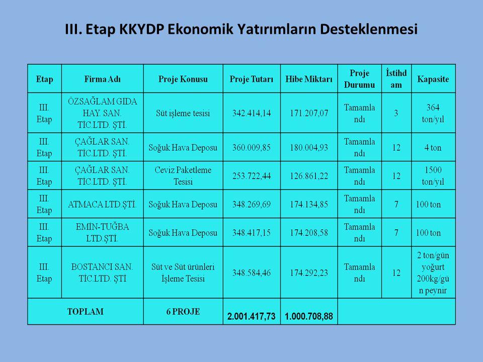 III. Etap KKYDP Ekonomik Yatırımların Desteklenmesi