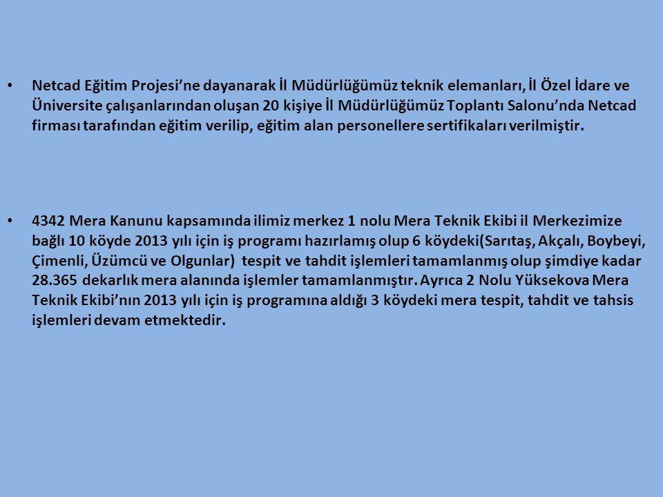 • Netcad Eğitim Projesi'ne dayanarak İl Müdürlüğümüz teknik elemanları, İl Özel İdare ve Üniversite çalışanlarından oluşan 20 kişiye İl Müdürlüğümüz T