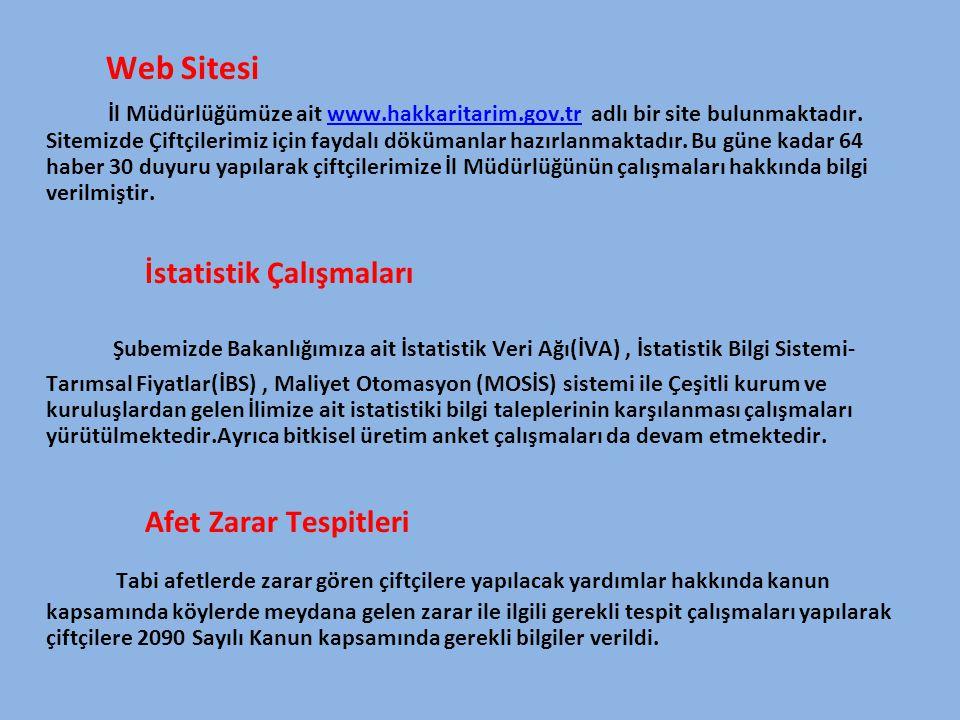 Web Sitesi İl Müdürlüğümüze ait www.hakkaritarim.gov.tr adlı bir site bulunmaktadır. Sitemizde Çiftçilerimiz için faydalı dökümanlar hazırlanmaktadır.