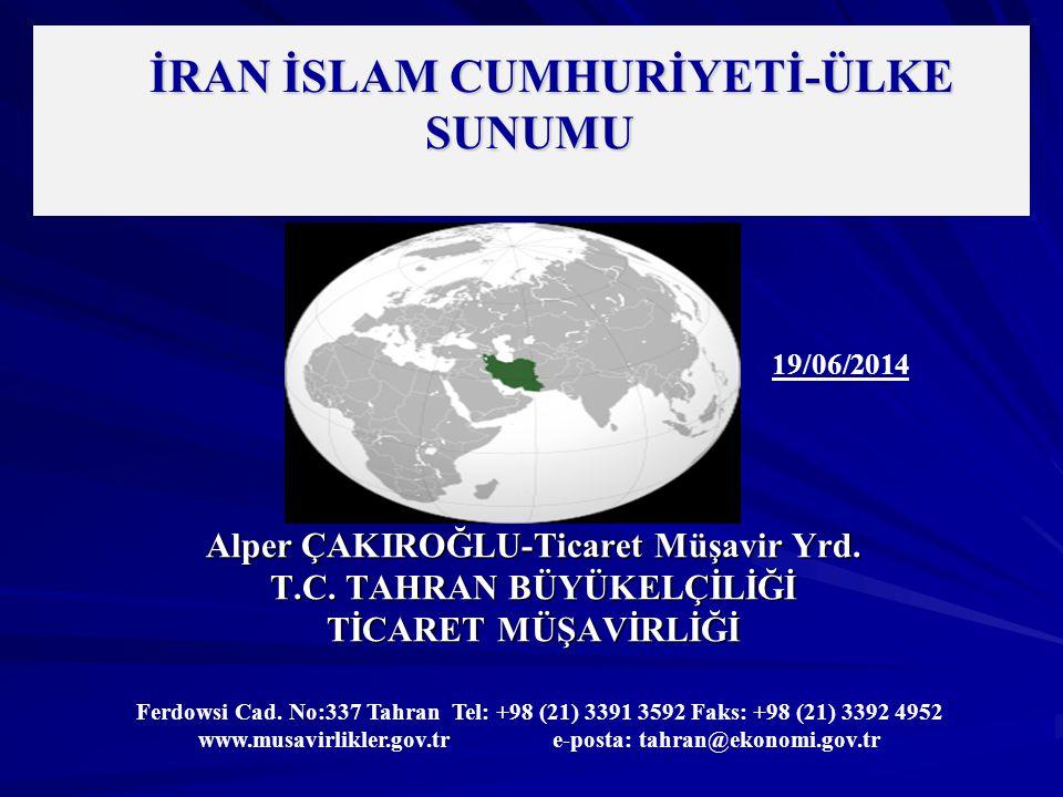 İRAN – TEMEL GÖSTERGELER Yüzölçümü : 1.648.195 km² (Dünya Sıralamasında 18.) (Birleşmiş Milletler) GSYİH (Nominal): 514 milyar $ (Dünya Sıralamasında 22.) (Dünya Bankası, 2012) Enflasyon: %30,3 (İran Merkez Bankası) İran Yılı: 1393 (21 Mart 2014-20 Mart 2015) Mesai Günleri: Cumartesi, Pazar, Pazartesi, Salı, Çarşamba Döviz Kuru: 1$ :32.150 İran Riyali (Serbest Piyasa) 25.611 İran Riyali (Resmi Kur) (İran Merkez Bankası) 1 Euro: 43.750 İran Riyali (Serbest Piyasa) 34.811 İran Riyali (Resmi Kur) (İran Merkez Bankası)