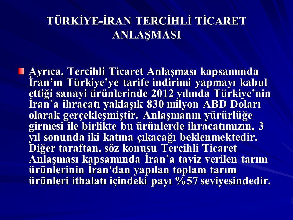TÜRKİYE-İRAN TERCİHLİ TİCARET ANLAŞMASI Ayrıca, Tercihli Ticaret Anlaşması kapsamında İran'ın Türkiye'ye tarife indirimi yapmayı kabul ettiği sanayi ü