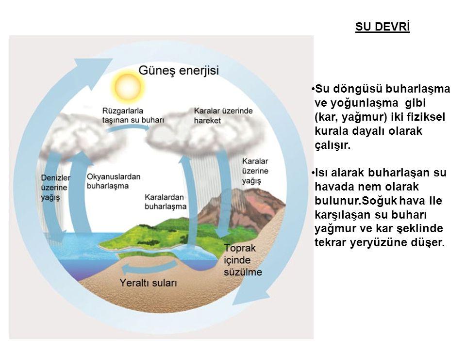SU DEVRİ •Su döngüsü buharlaşma ve yoğunlaşma gibi (kar, yağmur) iki fiziksel kurala dayalı olarak çalışır. •Isı alarak buharlaşan su havada nem olara