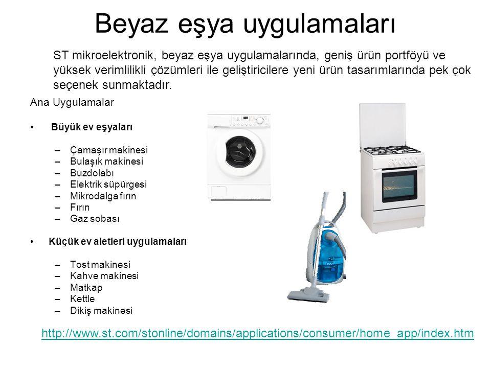 Beyaz eşya uygulamaları Ana Uygulamalar • Büyük ev eşyaları –Çamaşır makinesi –Bulaşık makinesi –Buzdolabı –Elektrik süpürgesi –Mikrodalga fırın –Fırın –Gaz sobası •Küçük ev aletleri uygulamaları –Tost makinesi –Kahve makinesi –Matkap –Kettle –Dikiş makinesi http://www.st.com/stonline/domains/applications/consumer/home_app/index.htm ST mikroelektronik, beyaz eşya uygulamalarında, geniş ürün portföyü ve yüksek verimlilikli çözümleri ile geliştiricilere yeni ürün tasarımlarında pek çok seçenek sunmaktadır.