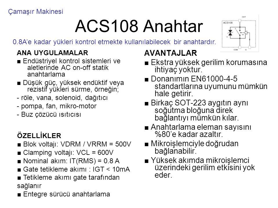 ACS108 Anahtar ANA UYGULAMALAR ■ Endüstriyel kontrol sistemleri ve aletlerinde AC on-off statik anahtarlama ■ Düşük güç, yüksek endüktif veya rezistif