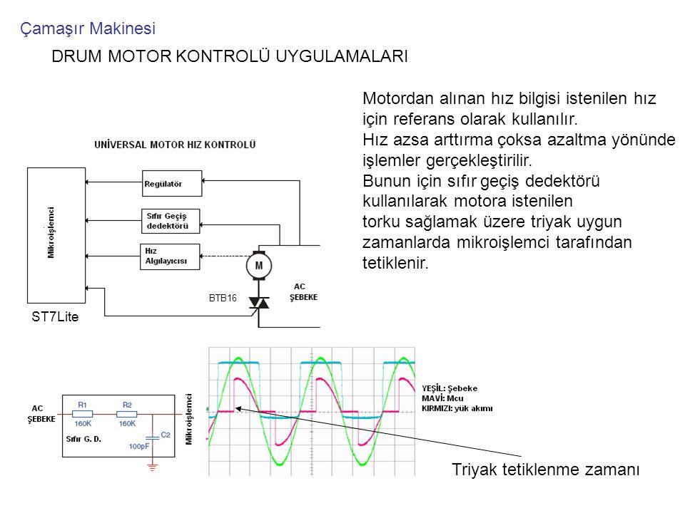 DRUM MOTOR KONTROLÜ UYGULAMALARI Motordan alınan hız bilgisi istenilen hız için referans olarak kullanılır. Hız azsa arttırma çoksa azaltma yönünde iş