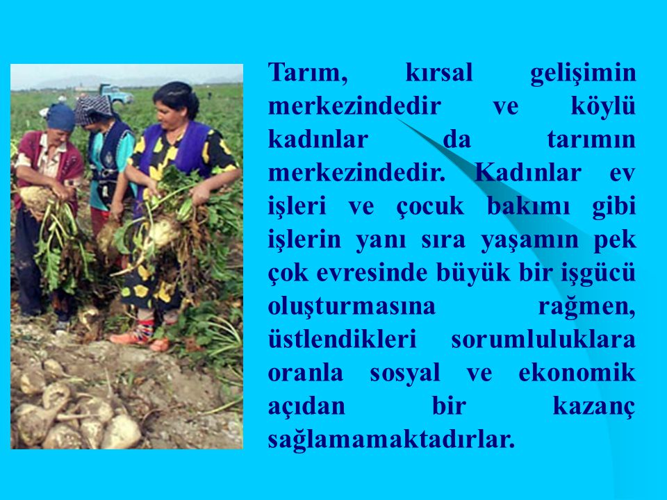 Tarım, kırsal gelişimin merkezindedir ve köylü kadınlar da tarımın merkezindedir. Kadınlar ev işleri ve çocuk bakımı gibi işlerin yanı sıra yaşamın pe