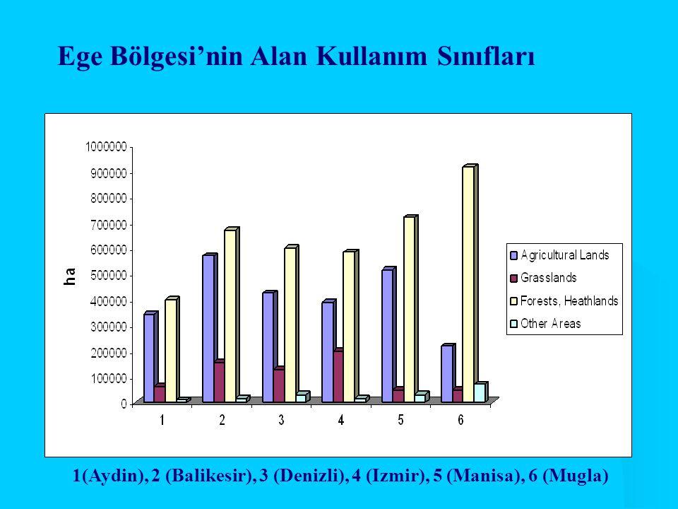 Ege Bölgesi'nin Alan Kullanım Sınıfları 1(Aydin), 2 (Balikesir), 3 (Denizli), 4 (Izmir), 5 (Manisa), 6 (Mugla)