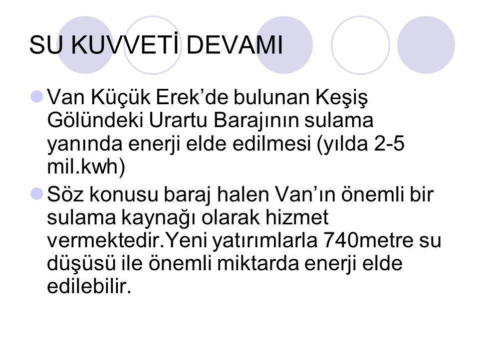 SU KUVVETİ DEVAMI  Van Küçük Erek'de bulunan Keşiş Gölündeki Urartu Barajının sulama yanında enerji elde edilmesi (yılda 2-5 mil.kwh)  Söz konusu ba