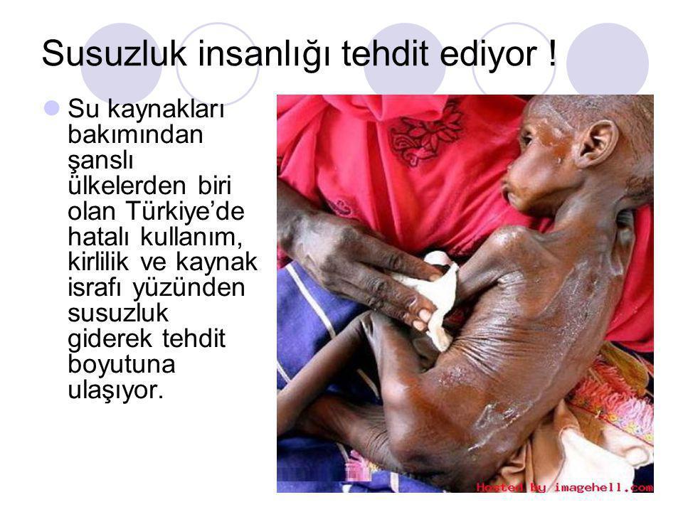 Susuzluk insanlığı tehdit ediyor !  Su kaynakları bakımından şanslı ülkelerden biri olan Türkiye'de hatalı kullanım, kirlilik ve kaynak israfı yüzünd