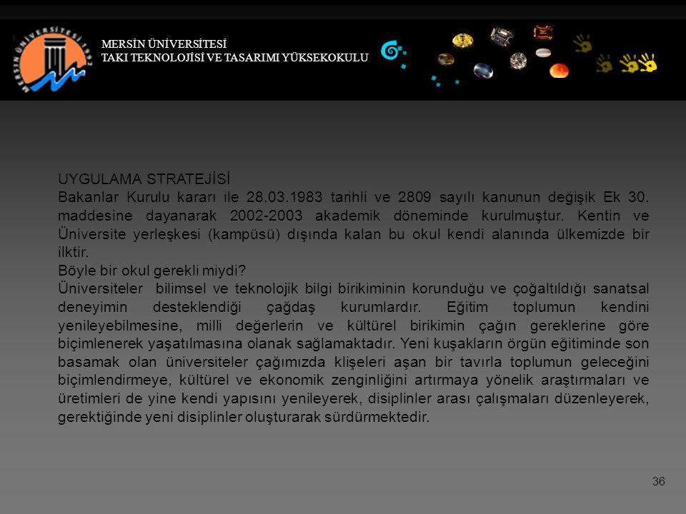 UYGULAMA STRATEJİSİ Bakanlar Kurulu kararı ile 28.03.1983 tarihli ve 2809 sayılı kanunun değişik Ek 30.