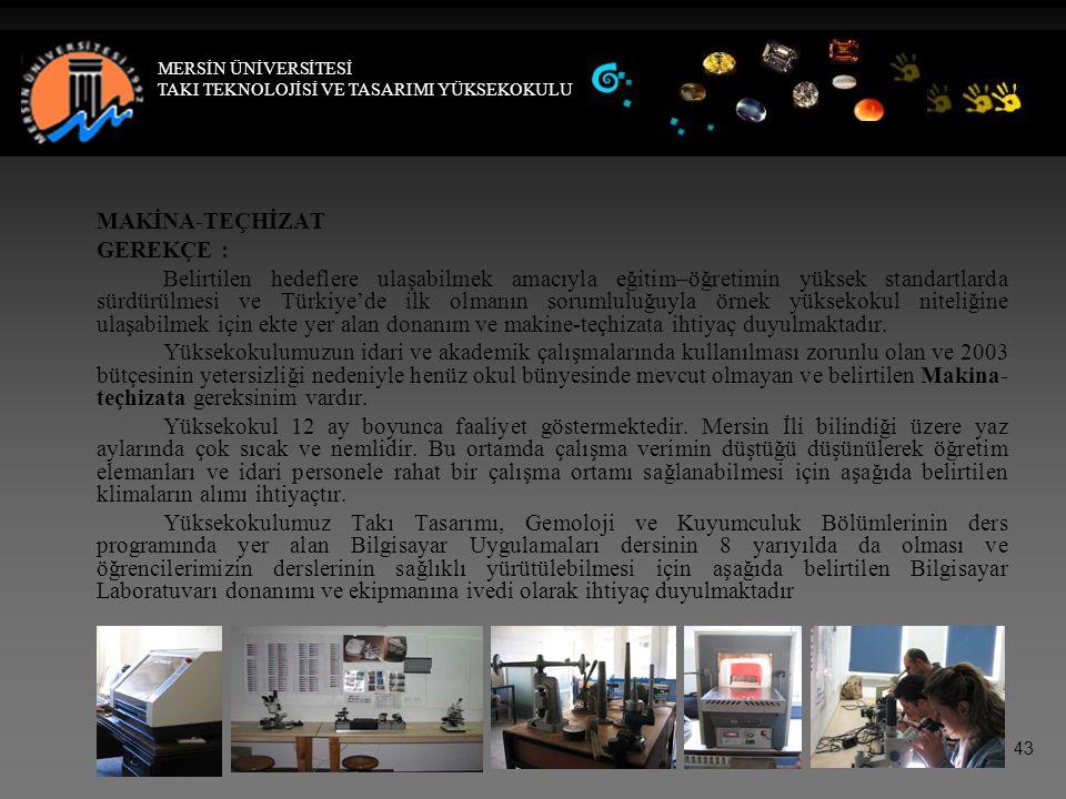 MAKİNA-TEÇHİZAT GEREKÇE : Belirtilen hedeflere ulaşabilmek amacıyla eğitim–öğretimin yüksek standartlarda sürdürülmesi ve Türkiye'de ilk olmanın sorumluluğuyla örnek yüksekokul niteliğine ulaşabilmek için ekte yer alan donanım ve makine-teçhizata ihtiyaç duyulmaktadır.