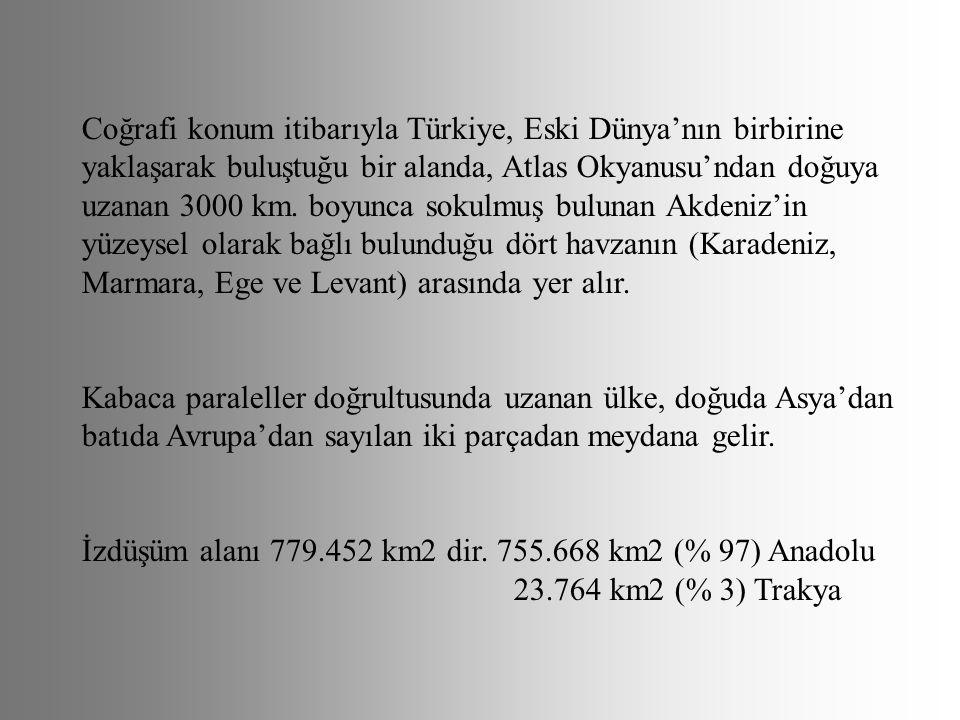 Coğrafi konum itibarıyla Türkiye, Eski Dünya'nın birbirine yaklaşarak buluştuğu bir alanda, Atlas Okyanusu'ndan doğuya uzanan 3000 km. boyunca sokulmu