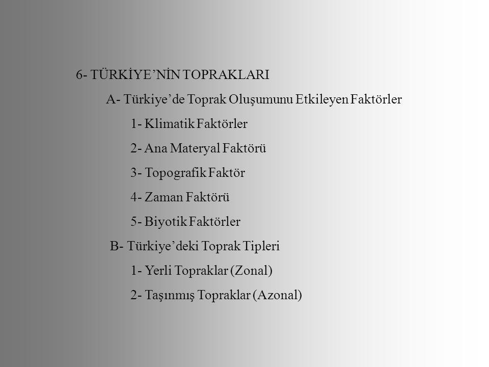 6- TÜRKİYE'NİN TOPRAKLARI A- Türkiye'de Toprak Oluşumunu Etkileyen Faktörler 1- Klimatik Faktörler 2- Ana Materyal Faktörü 3- Topografik Faktör 4- Zam