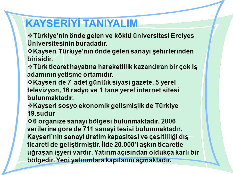 KAYSERİYİ TANIYALIM  Türkiye'nin önde gelen ve köklü üniversitesi Erciyes Üniversitesinin buradadır.
