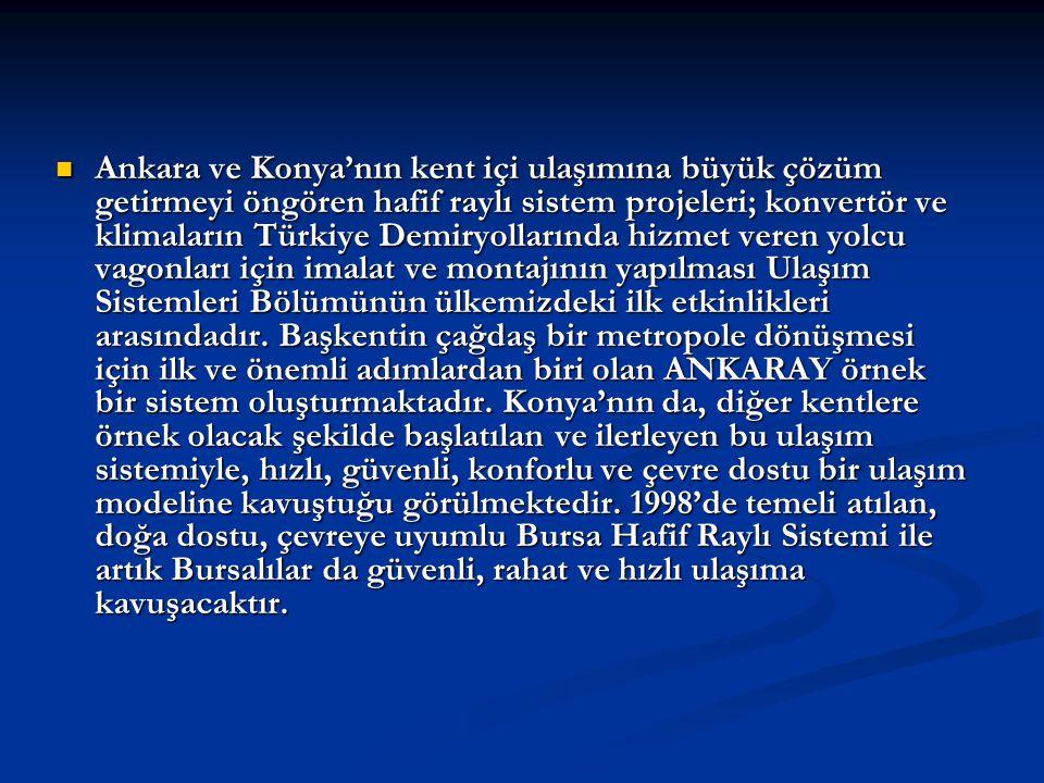  Ankara ve Konya'nın kent içi ulaşımına büyük çözüm getirmeyi öngören hafif raylı sistem projeleri; konvertör ve klimaların Türkiye Demiryollarında h