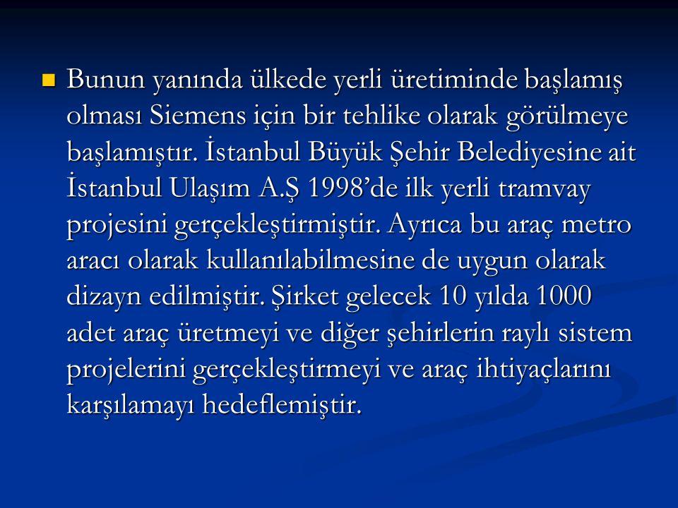  Bunun yanında ülkede yerli üretiminde başlamış olması Siemens için bir tehlike olarak görülmeye başlamıştır. İstanbul Büyük Şehir Belediyesine ait İ