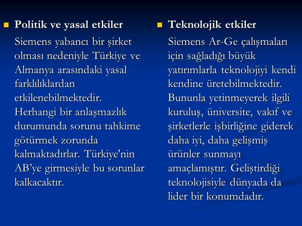  Politik ve yasal etkiler Siemens yabancı bir şirket olması nedeniyle Türkiye ve Almanya arasındaki yasal farklılıklardan etkilenebilmektedir. Herhan