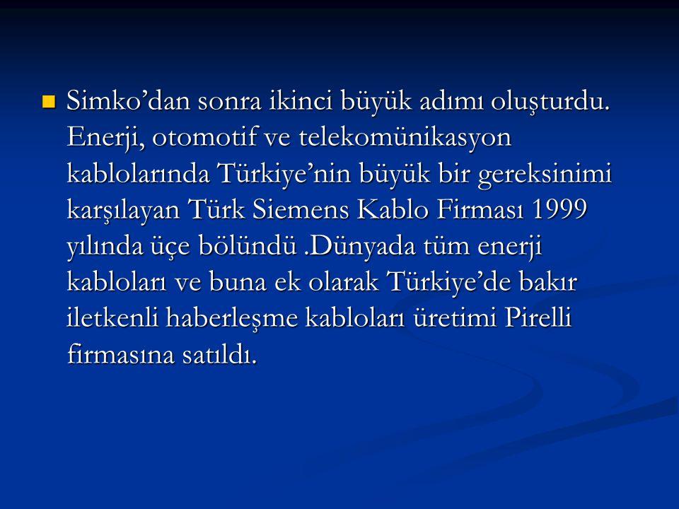  Simko'dan sonra ikinci büyük adımı oluşturdu. Enerji, otomotif ve telekomünikasyon kablolarında Türkiye'nin büyük bir gereksinimi karşılayan Türk Si